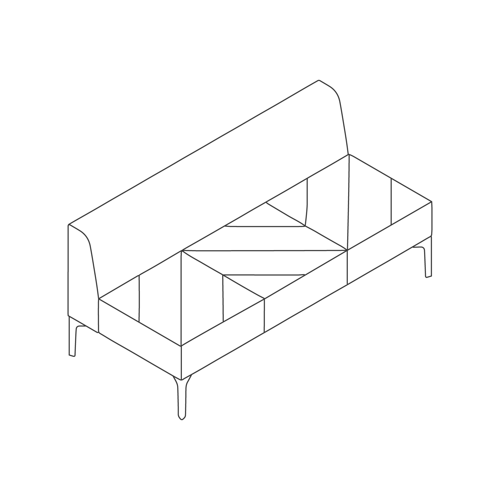 A line drawing of Hatch Modular Seating–Armless–3 Seat.