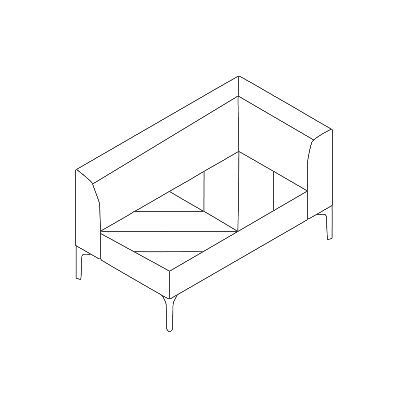 A line drawing of Hatch Modular Seating–Left Arm–2 Seat.