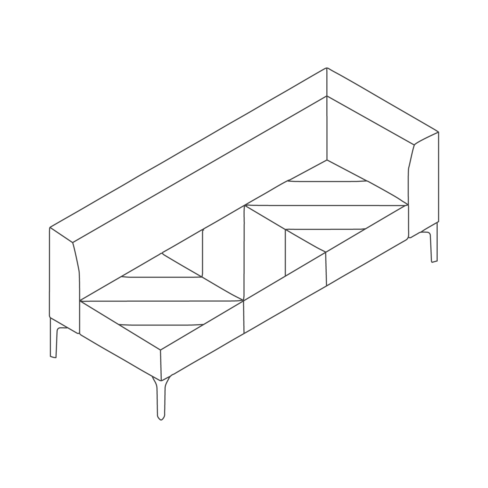 A line drawing of Hatch Modular Seating–Left Arm–3 Seat.