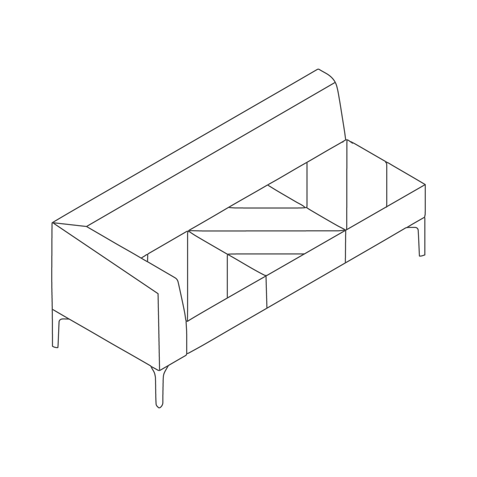 A line drawing of Hatch Modular Seating–Right Arm–3 Seat.