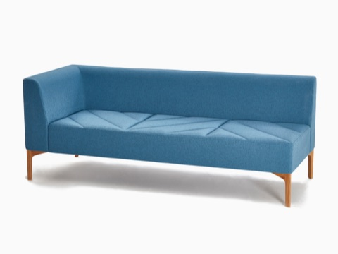 A light blue naughtone Hatch Modular Seating with right armrest and wooden base, viewed at an angle.