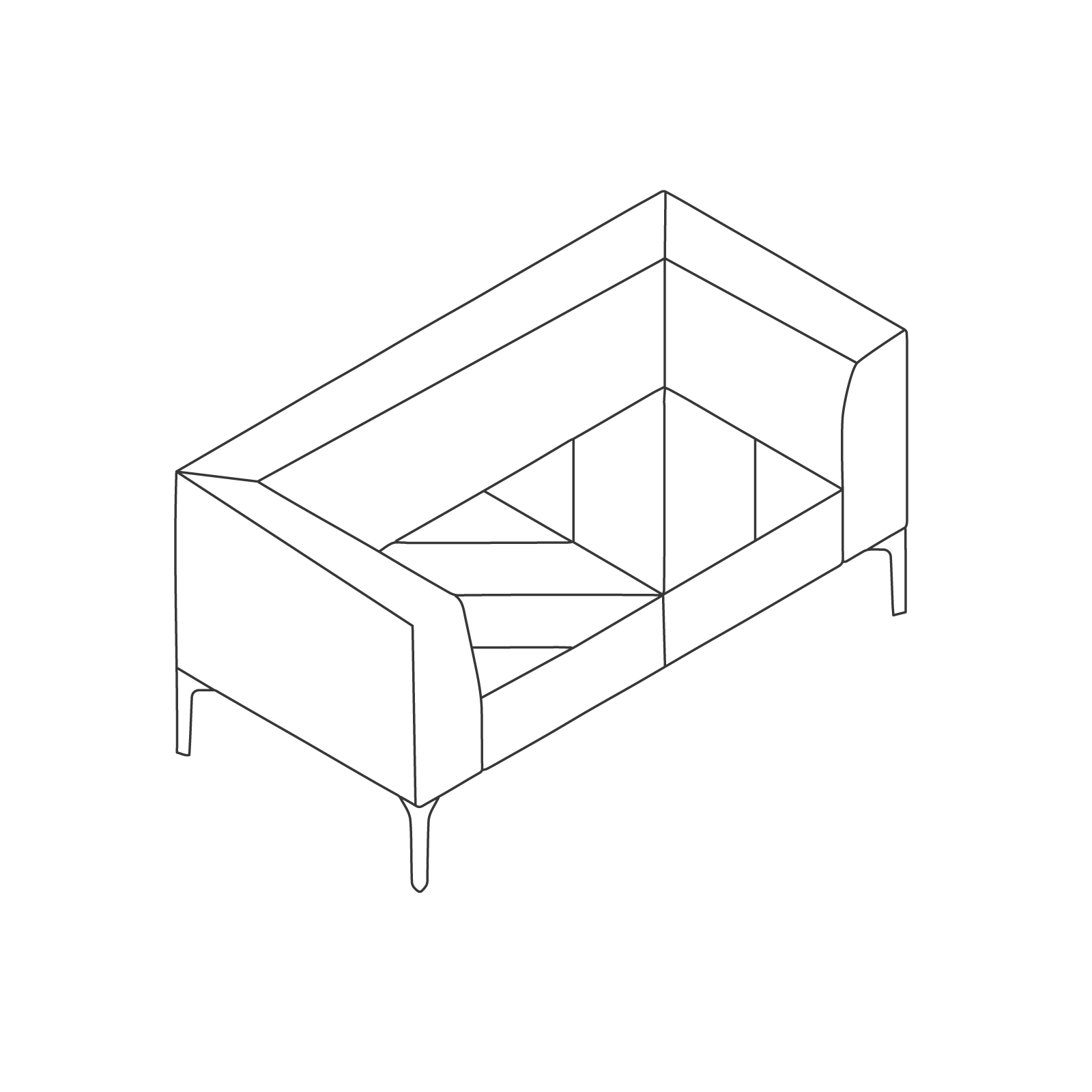 A line drawing of Hatch Sofa–2 Seat.