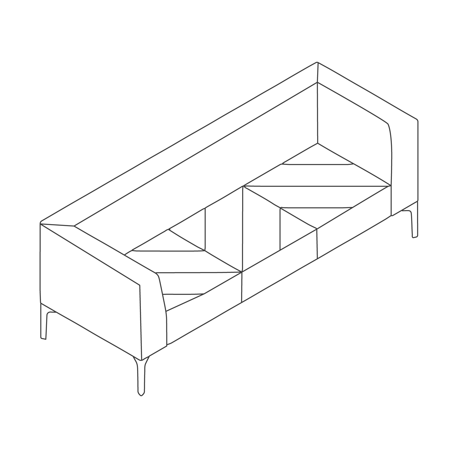 A line drawing of Hatch Sofa–3 Seat.