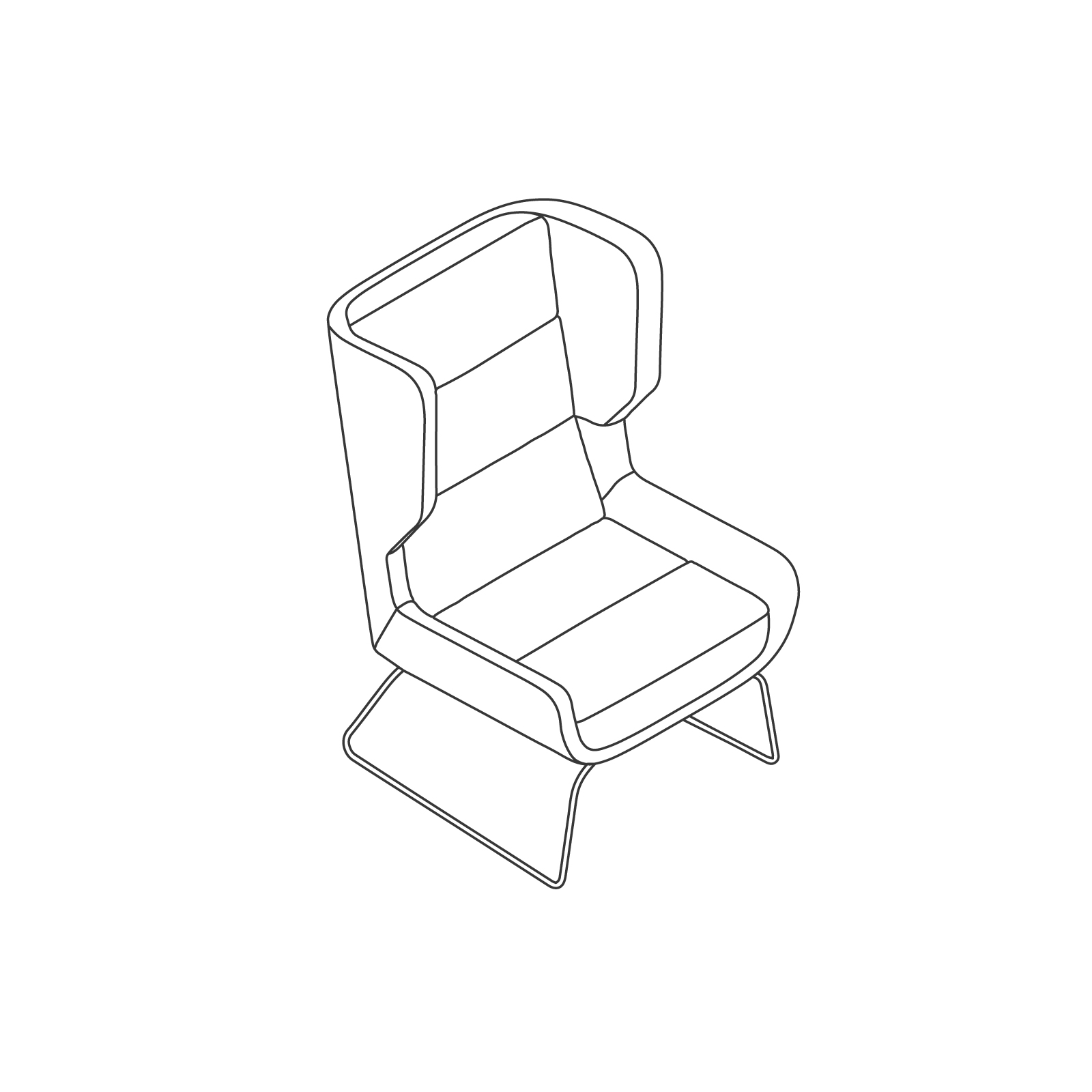 A line drawing of Hush Chair–High Back–Sled Base.