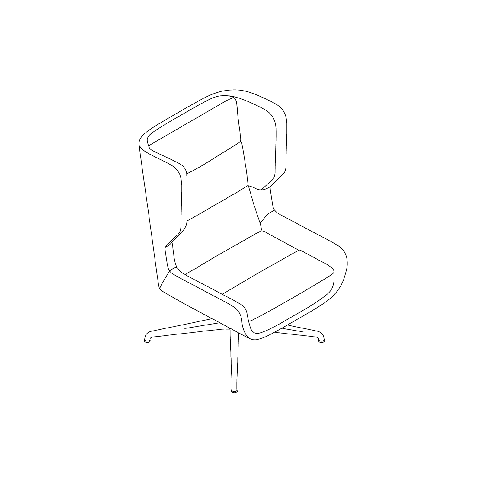 A line drawing of Hush Chair–High Back–Swivel Base.