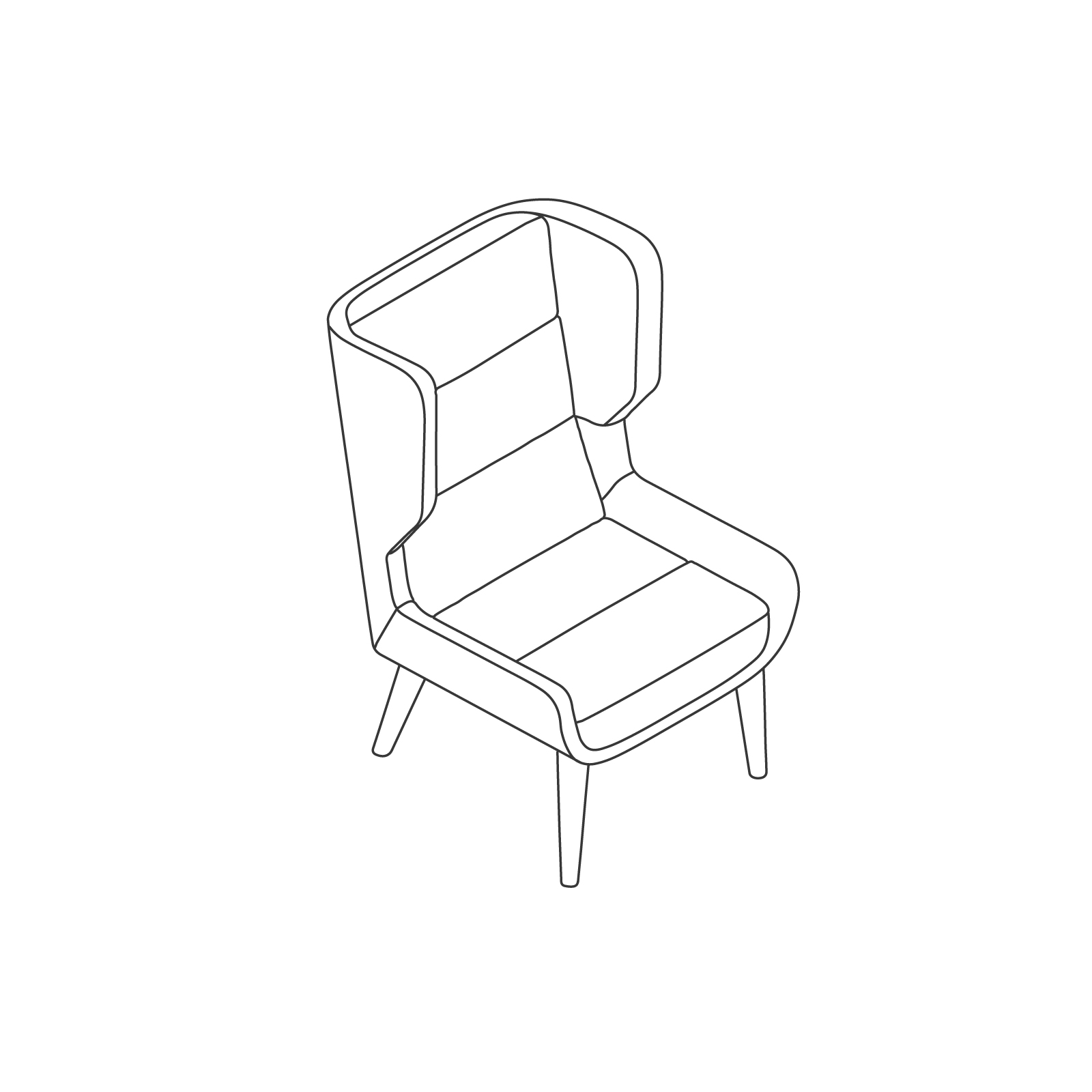 A line drawing of Hush Chair–High Back–Wood Base.