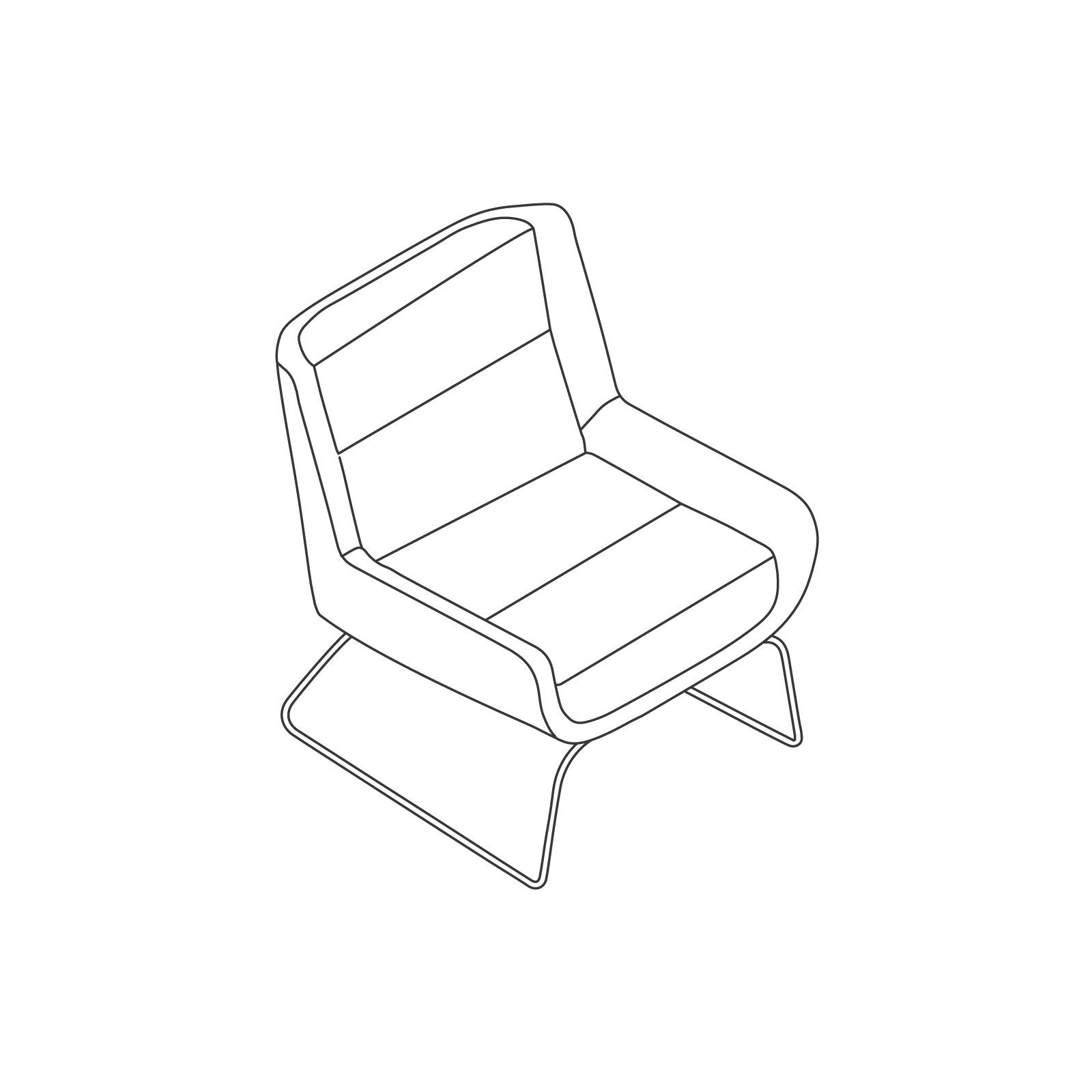 A line drawing of Hush Chair–Low Back–Sled Base.