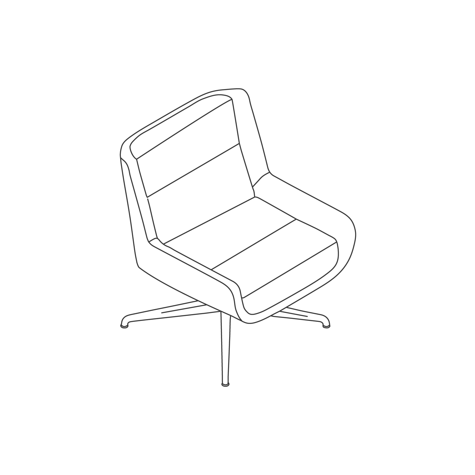 A line drawing of Hush Chair–Low Back–Swivel Base.