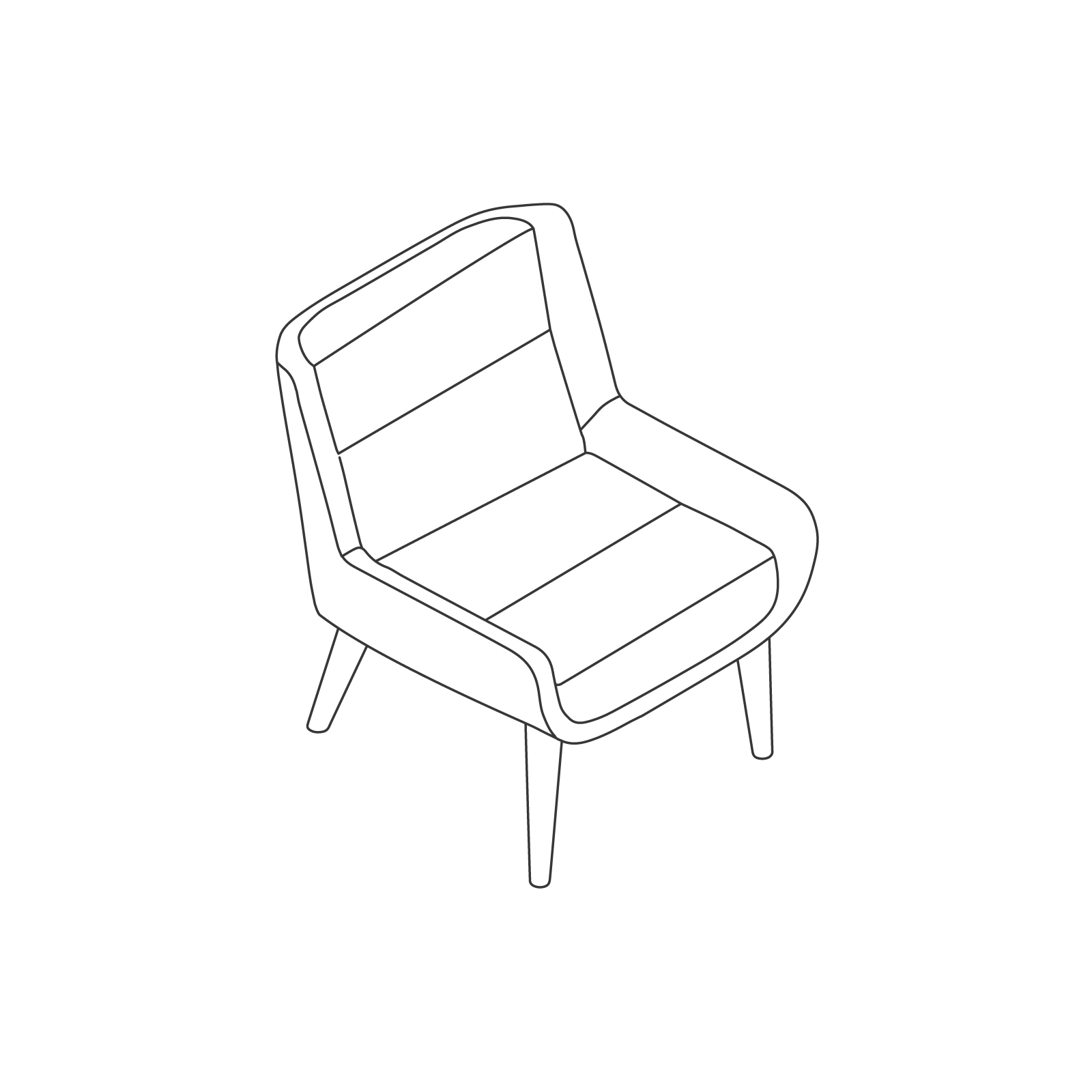 A line drawing of Hush Chair–Low Back–Wood Base.