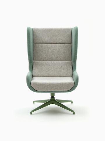 A naughtone Hush Chair with a green back and light gray seat padding and green 4-star base, viewed from the front.