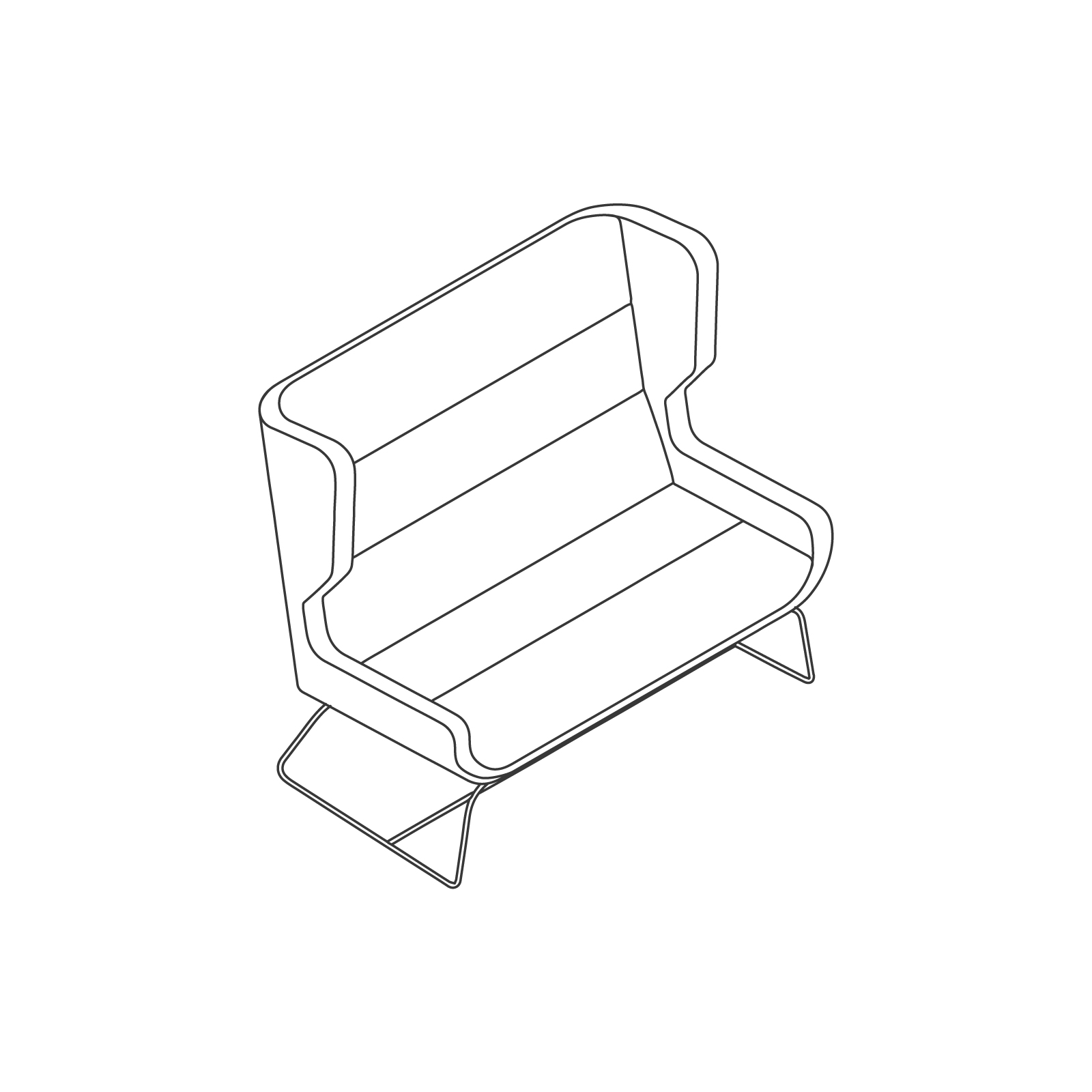 A line drawing of Hush Sofa–High Back–2 Seat–Sled Base.