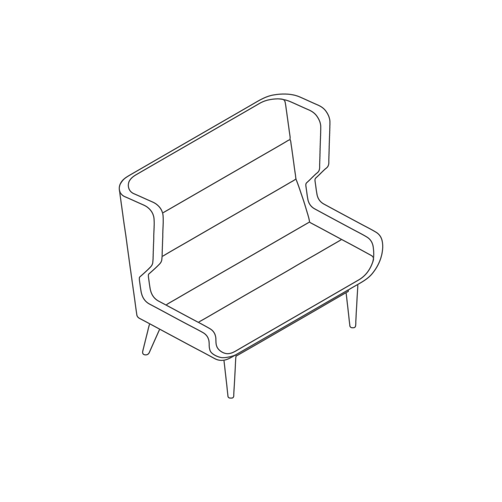 A line drawing of Hush Sofa–High Back–2 Seat–Wood Base.