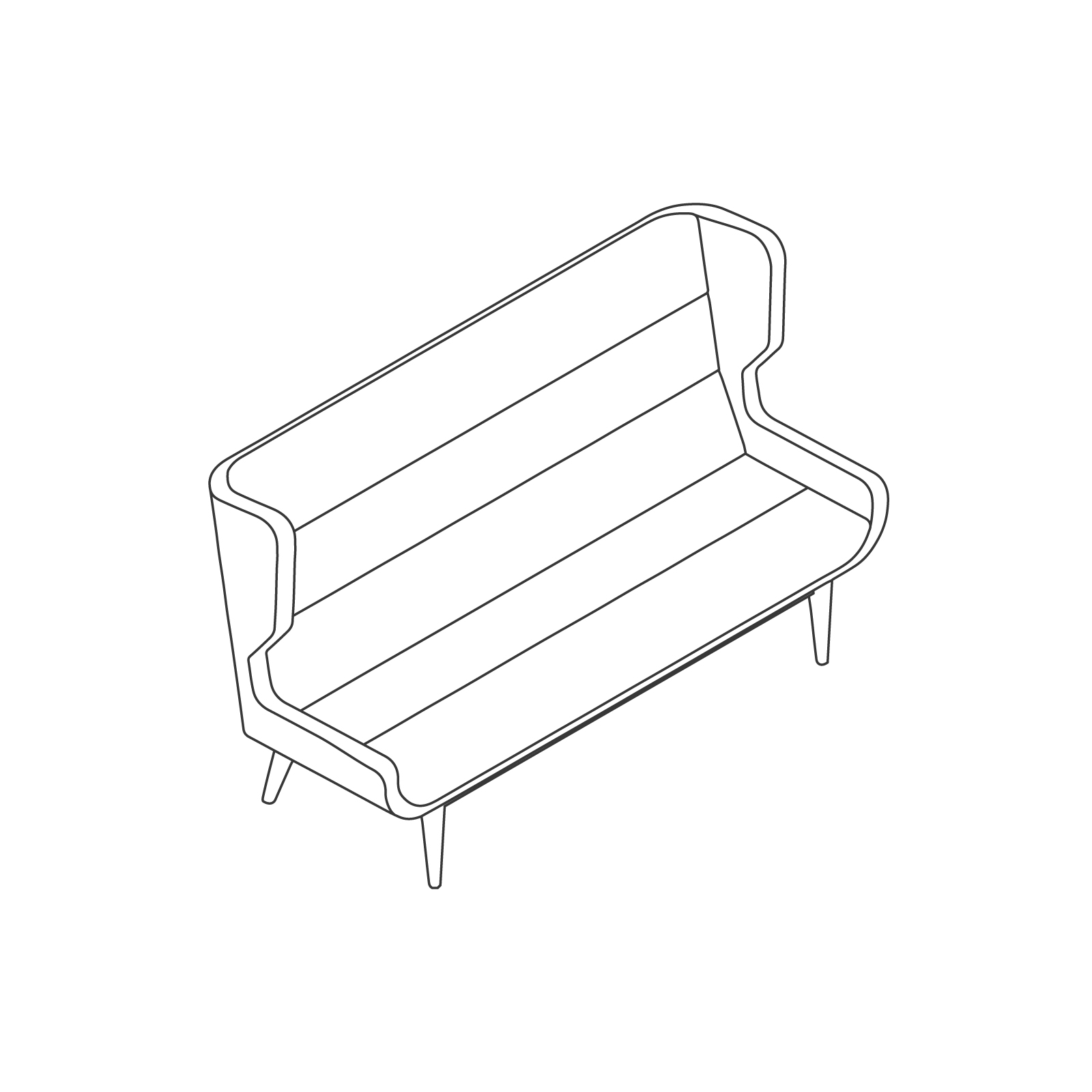 A line drawing of Hush Sofa–High Back–3 Seat–Wood Base.