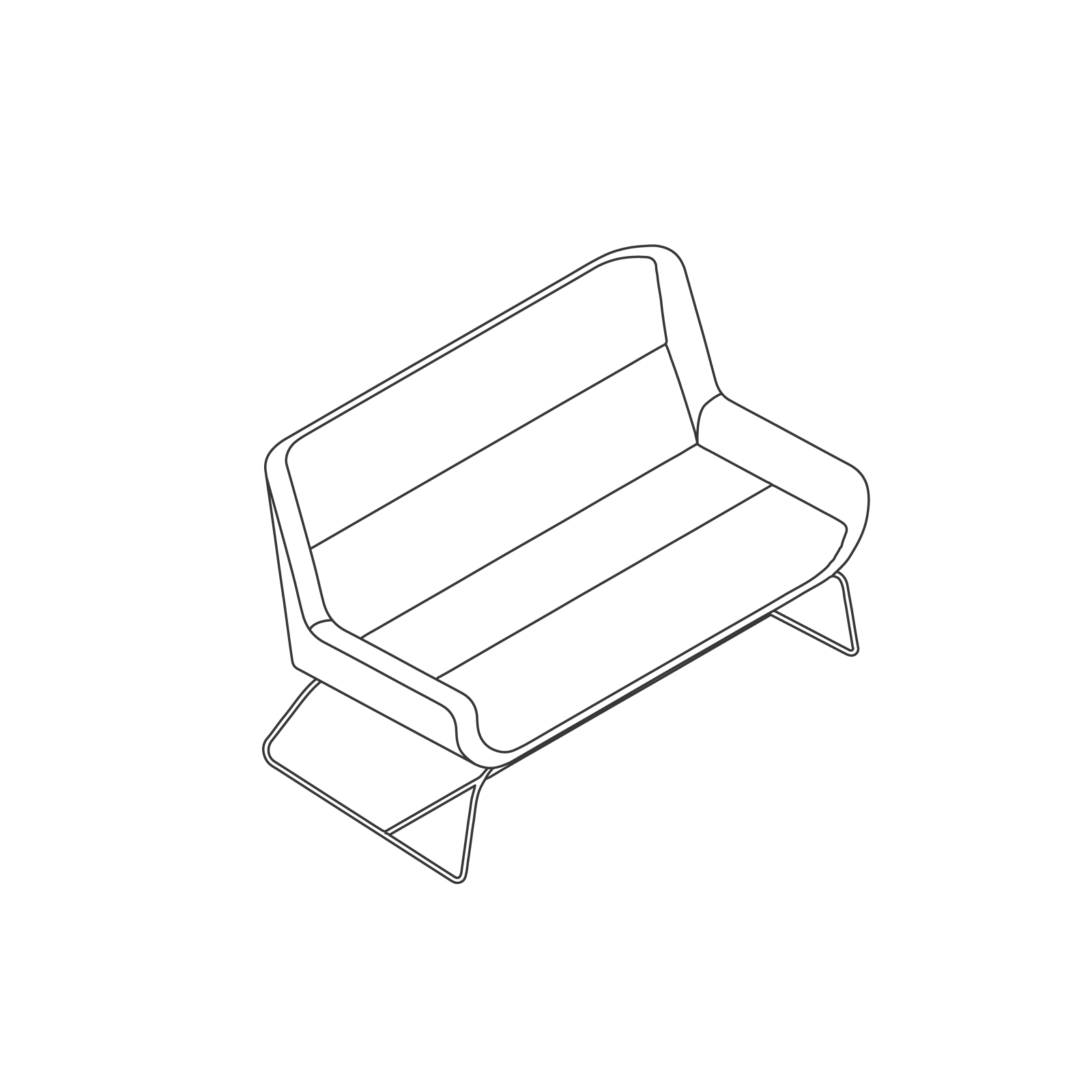 A line drawing of Hush Sofa–Low Back–2 Seat–Sled Base.