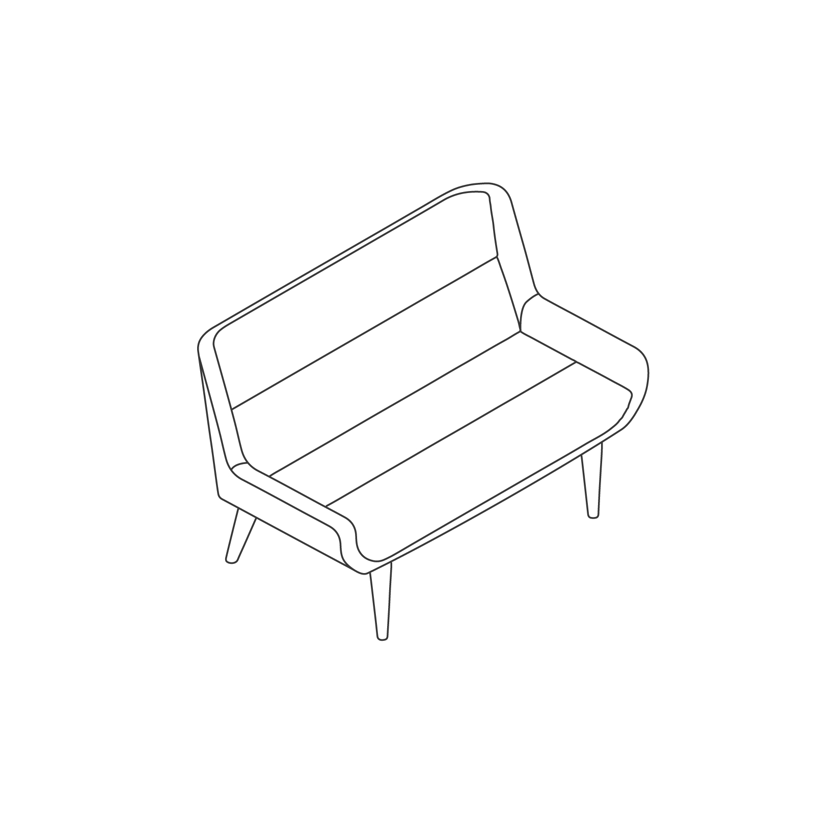 A line drawing of Hush Sofa–Low Back–2 Seat–Wood Base.