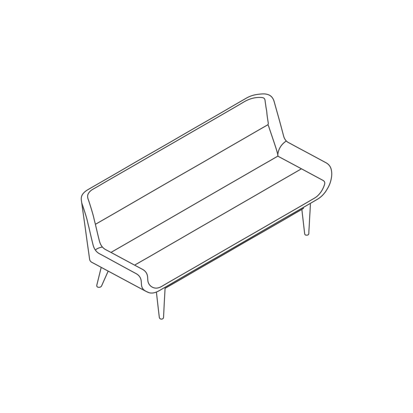 A line drawing of Hush Sofa–Low Back–3 Seat–Wood Base.