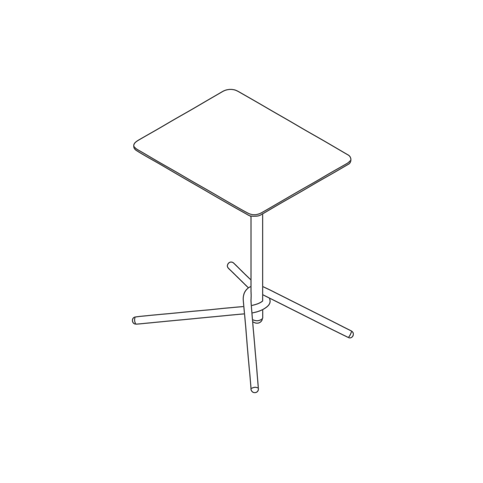 A line drawing of Knot Side Table–Rectangular.
