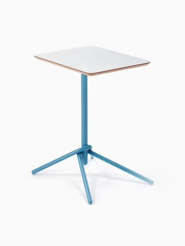 A naughtone rectangular Knot Side Table with a white top and light blue base, viewed at an angle.