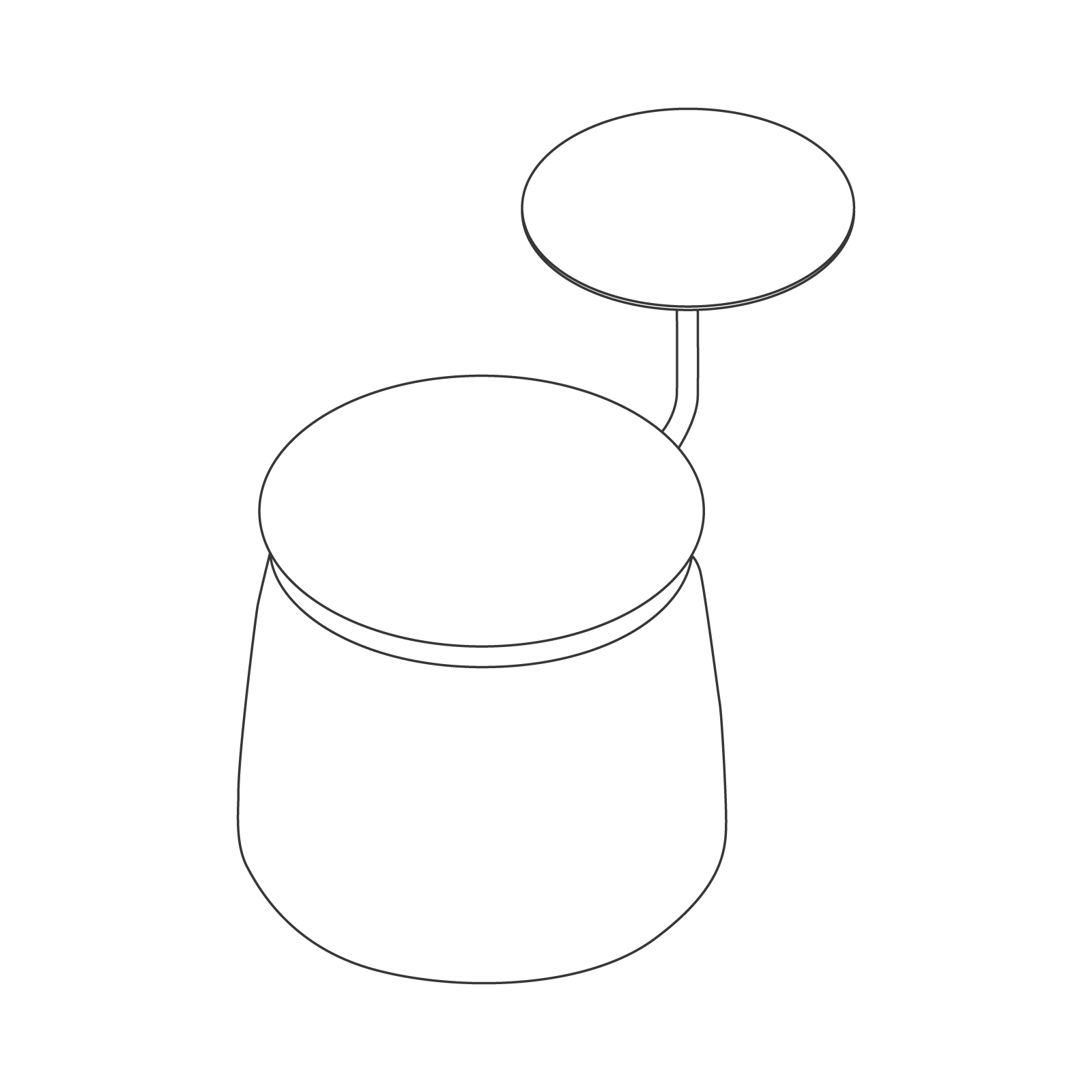 A line drawing - Lasso Stool–1 Seat–With Table