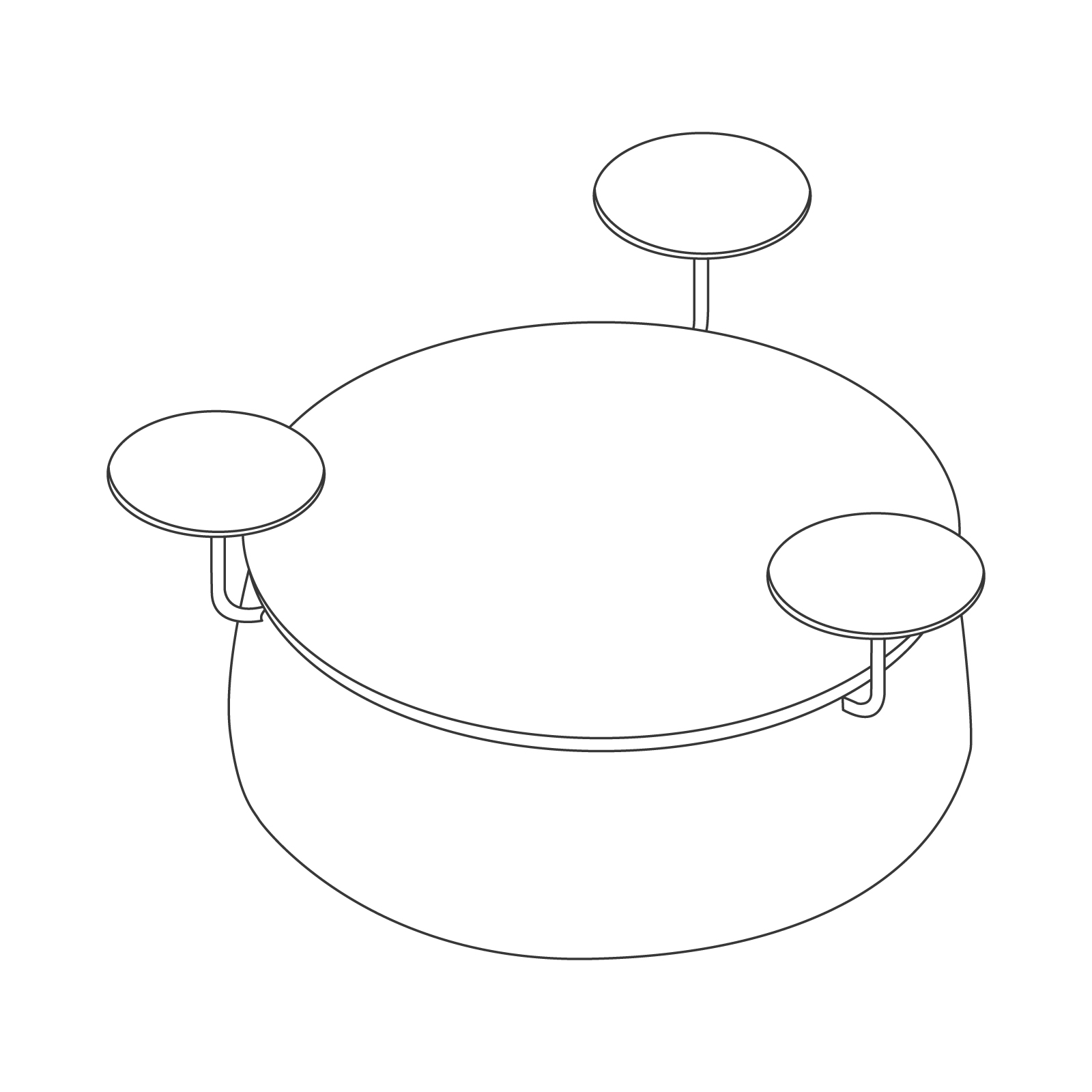 A line drawing - Lasso Stool–3 Seat–With Tables