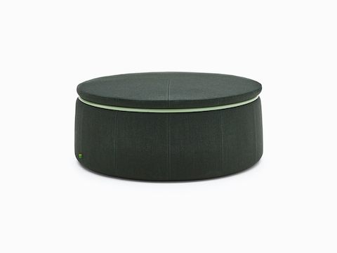 Three-seat Lasso Stool, upholstered in dark gray fabric with pale green ring