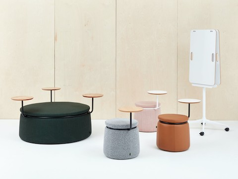 One three-seat Lasso Stool and three single-seat Lasso Stools, all upholstered and with tables