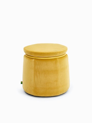 Single-seat Lasso Stool, upholstered in yellow velvet fabric with yellow metal ring