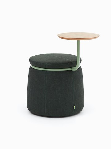 Single-seat Lasso Stool with table, upholstered in dark green fabric with pale green ring and tablet arm
