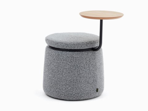 Single-seat Lasso Stool, upholstered in gray fabric with oak veneer table