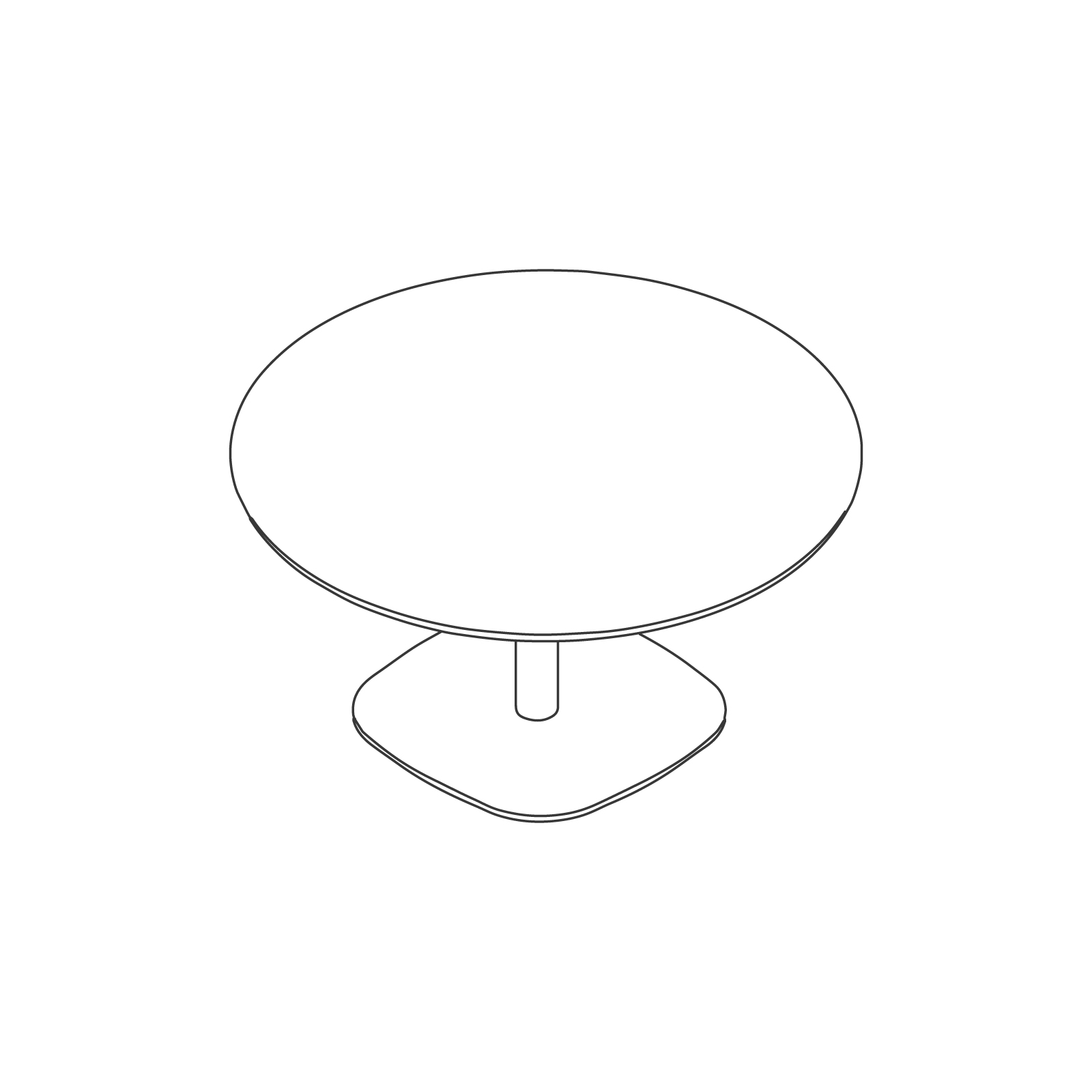 A line drawing of Megaped Table–Round.
