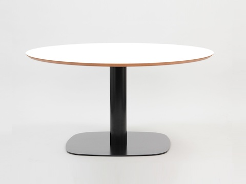 A round white naughtone Megaped Table with a black base, viewed from the front.