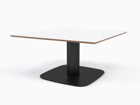 A square white naughtone Megaped Table with a black base, viewed at an angle.