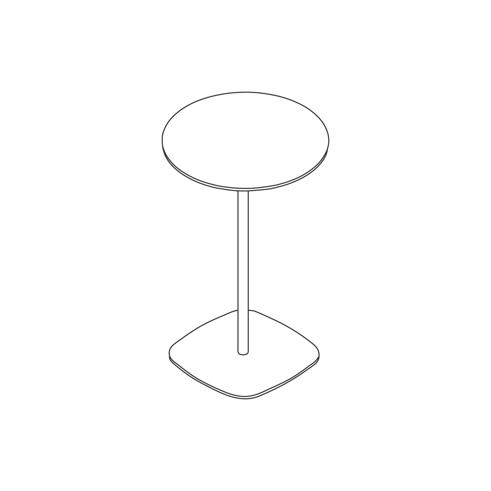 A line drawing of Ped Bar Height Table–Round.