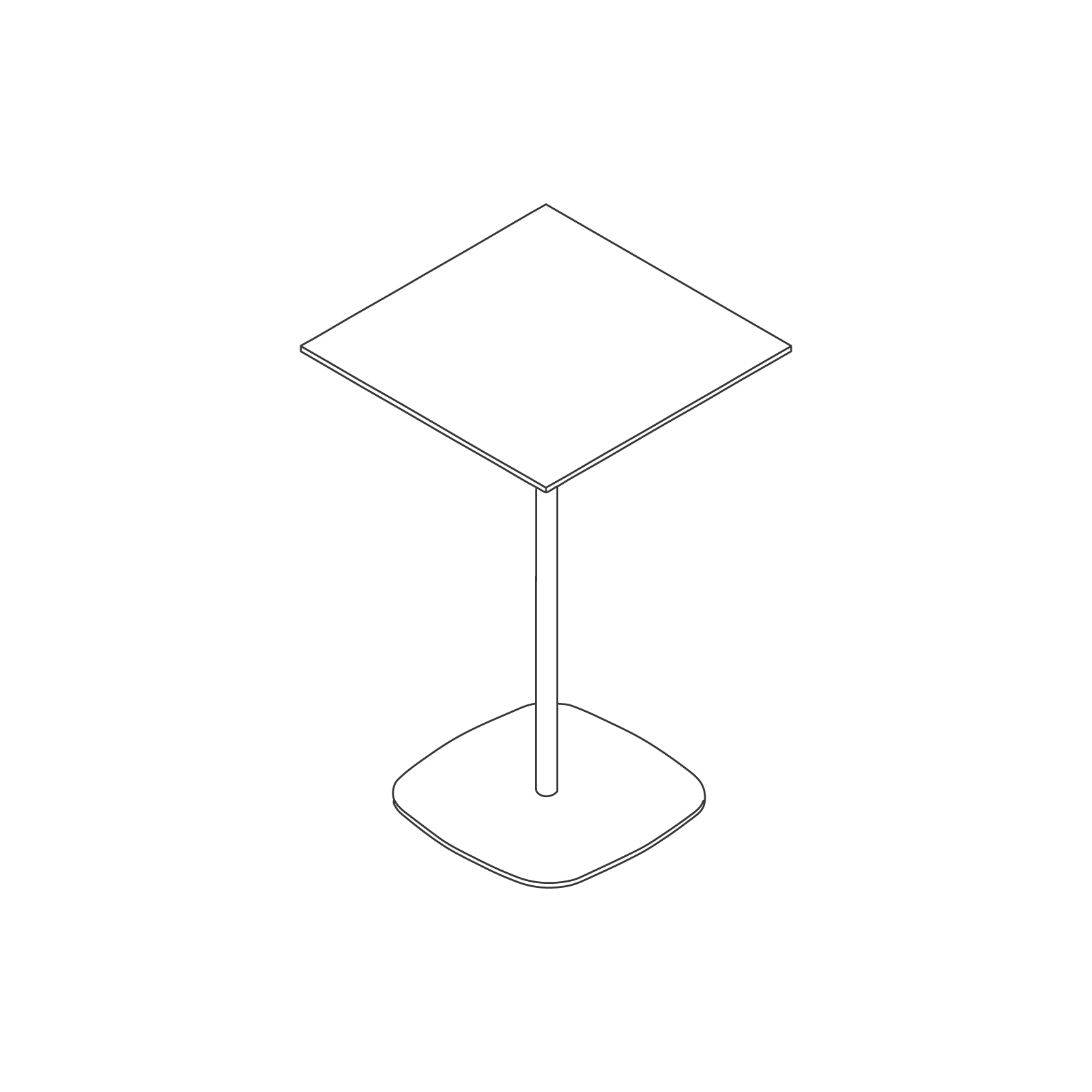 A line drawing of Ped Bar Height Table–Square.