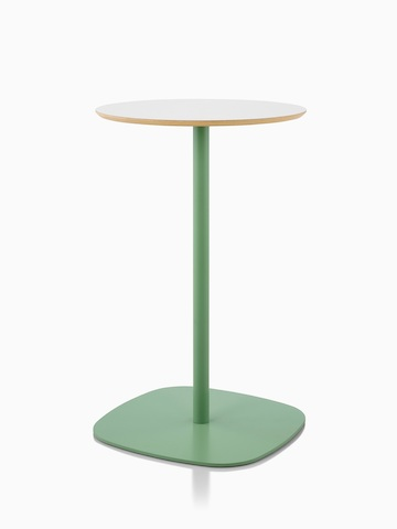 Ped Circular Bar Height Table with a pale green base and a white melamine with reverse chamfer edged top.