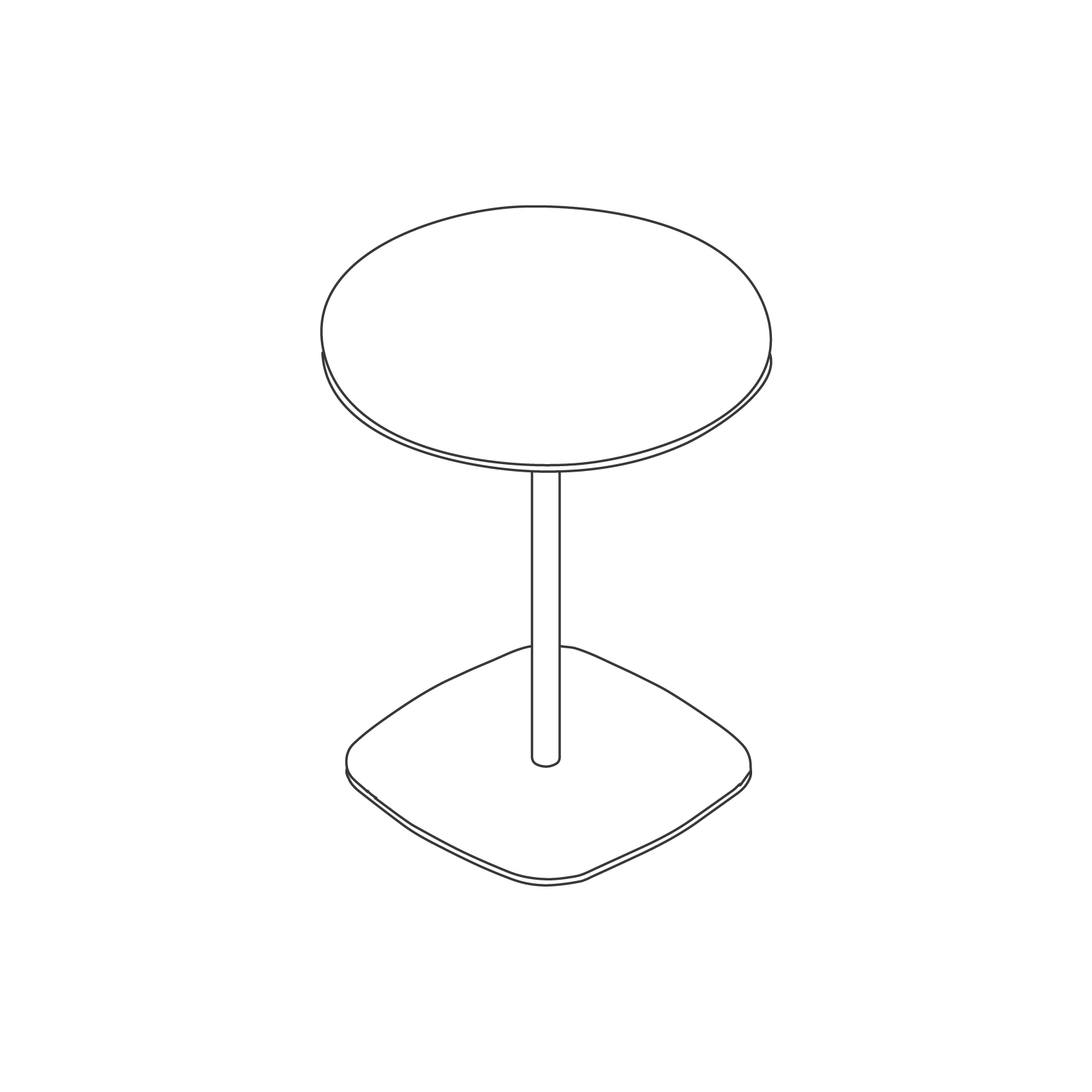A line drawing of Ped Café Table–Round.