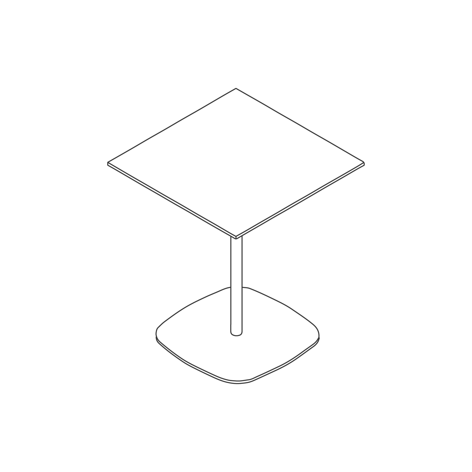 A line drawing of Ped Café Table–Square.