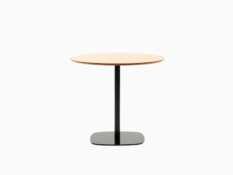 A round oak-topped Ped Café Table with black base, viewed from the front.