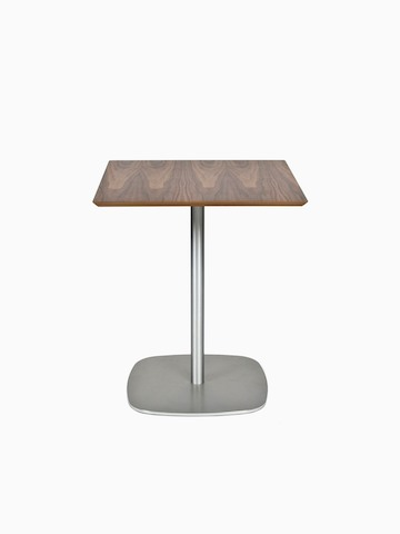 A square walnut topped Ped Café Table with a stainless steel base, viewed from the front.
