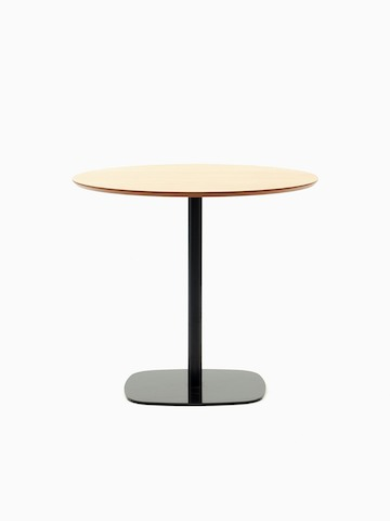 A round oak topped Ped Café Table with black base, viewed from the front.