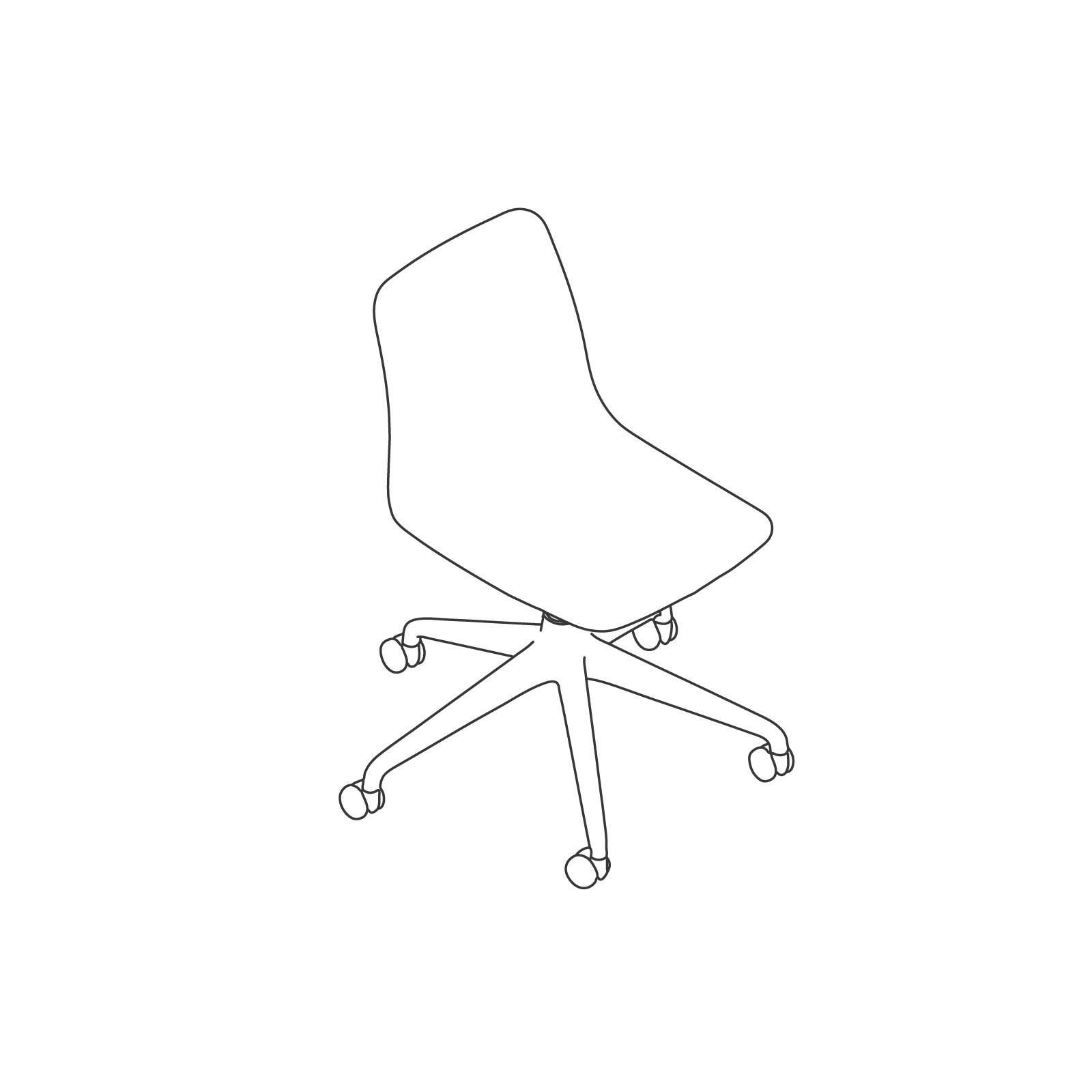 A line drawing - Polly Chair–Armless–5-Star Caster Base