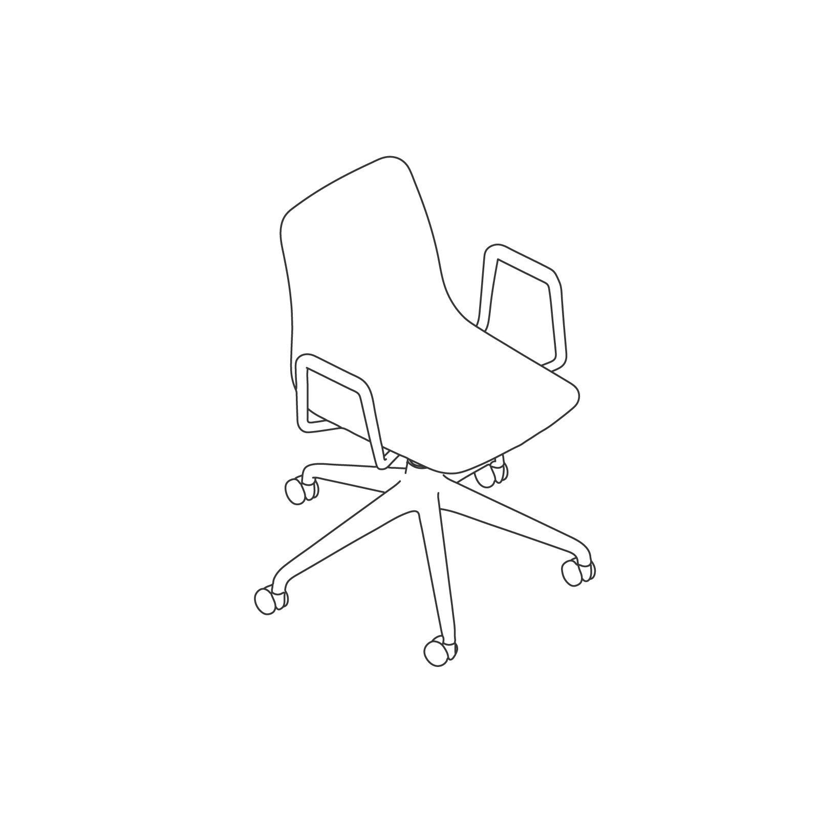 A line drawing of Polly Chair–With Arms 5-Star Caster Base.