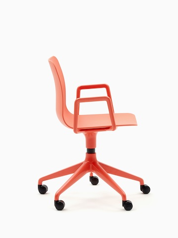 An orange naughtone Polly Chair with a 5-star base, viewed from the side.