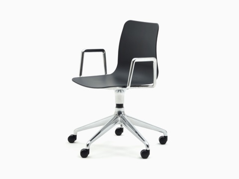 A black naughtone Polly Chair with a 5-star chrome base and armrest, viewed at an angle.