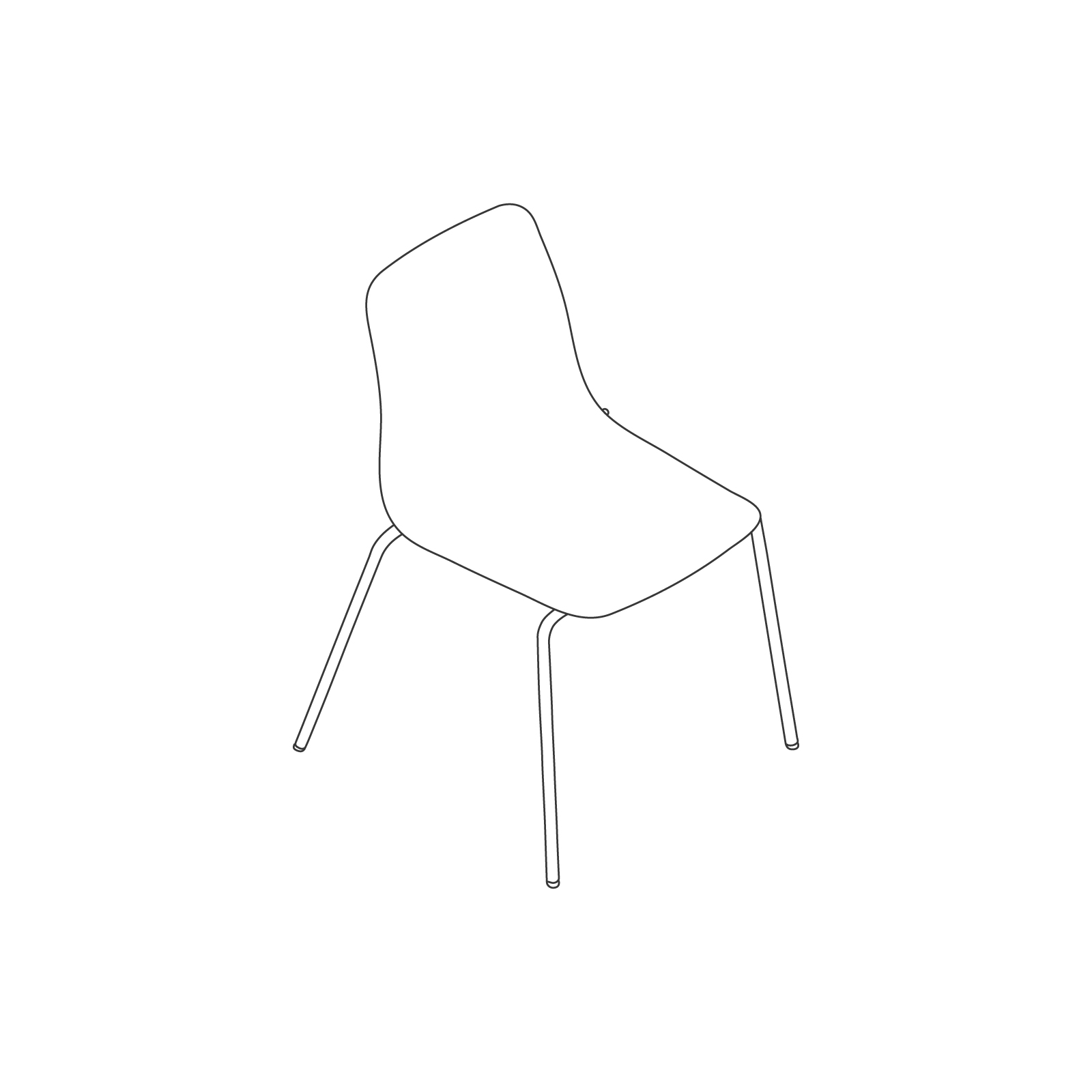 A line drawing of Polly Side Chair–Armless 4-Leg Base.
