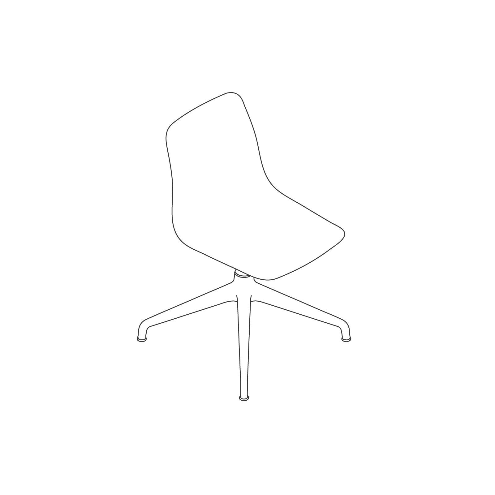 A line drawing of Polly Side Chair–Armless 4-Star Base.
