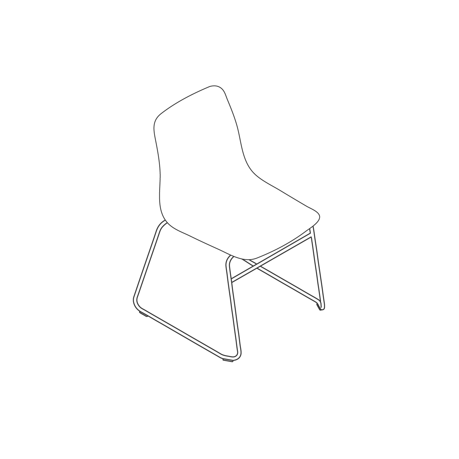 A line drawing of Polly Side Chair–Sled Base.