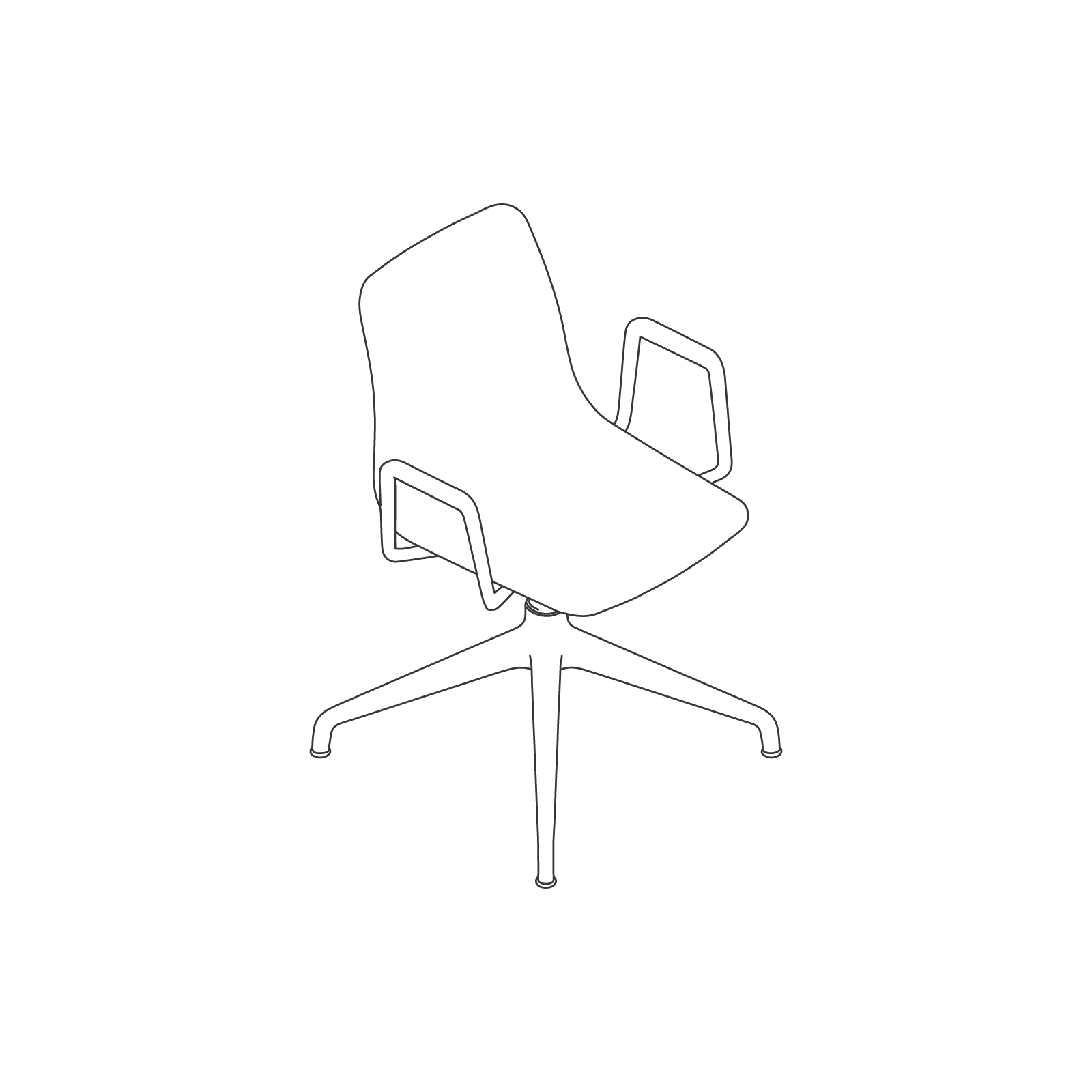 A line drawing of Polly Side Chair–With Arms 4-Star Swivel Base.