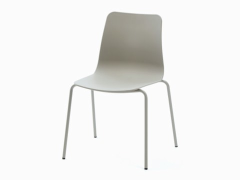 Polly Side Chair in stone grey with a salmon sled base, viewed at an angle.