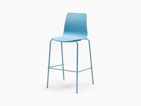 An all blue Polly Stool, viewed at an angle.